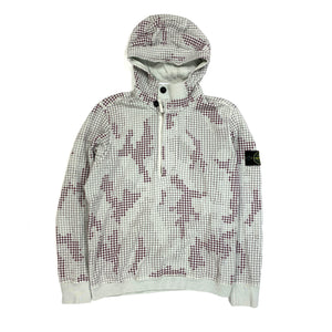 Stone Island Grid Check Pullover Cotton Hoodie