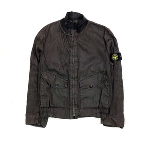 STONE ISLAND BROWN LINO FLAX BLEND ZIPPED JACKET