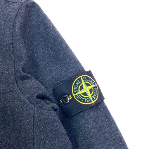 STONE ISLAND DARK GREY WOOL ZIPPED AW OVERSHIRT