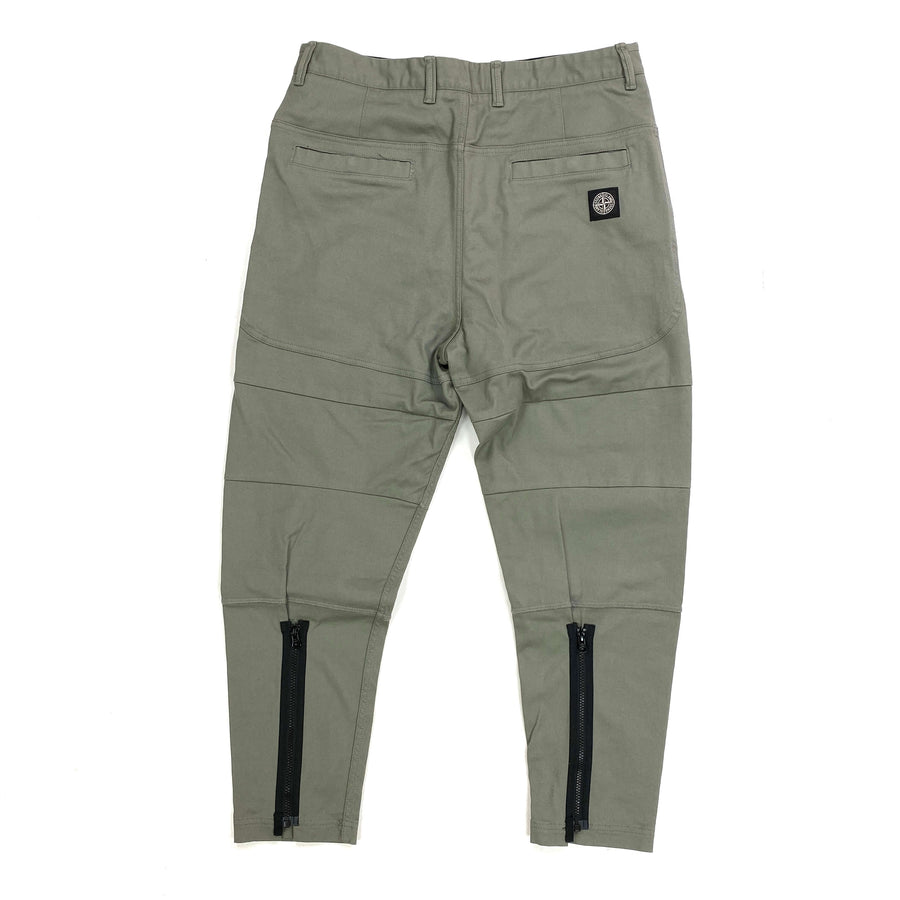 STONE ISLAND LIGHT KHAKI TAPERED ZIP DETAIL CARGO TROUSERS