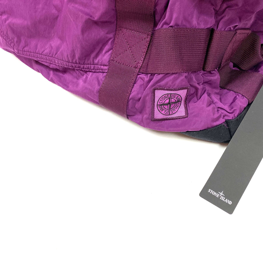 STONE ISLAND PURPLE NYLON METAL DUFFLE BAG