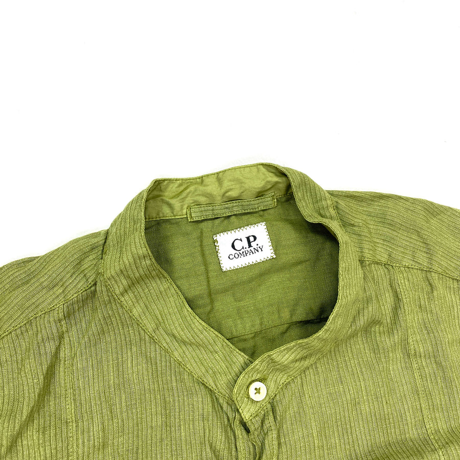 CP COMPANY LIME GREEN LINO FLAX SUMMER SHIRT
