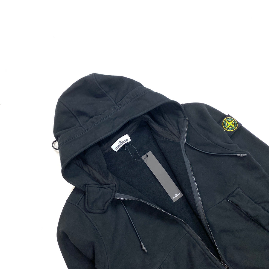 Stone Island Thick Black Cotton Zipped Hoodie