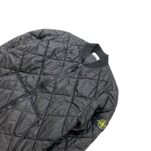 Stone Island Black Garment Dyed Micro Yarn Quilted Jacket