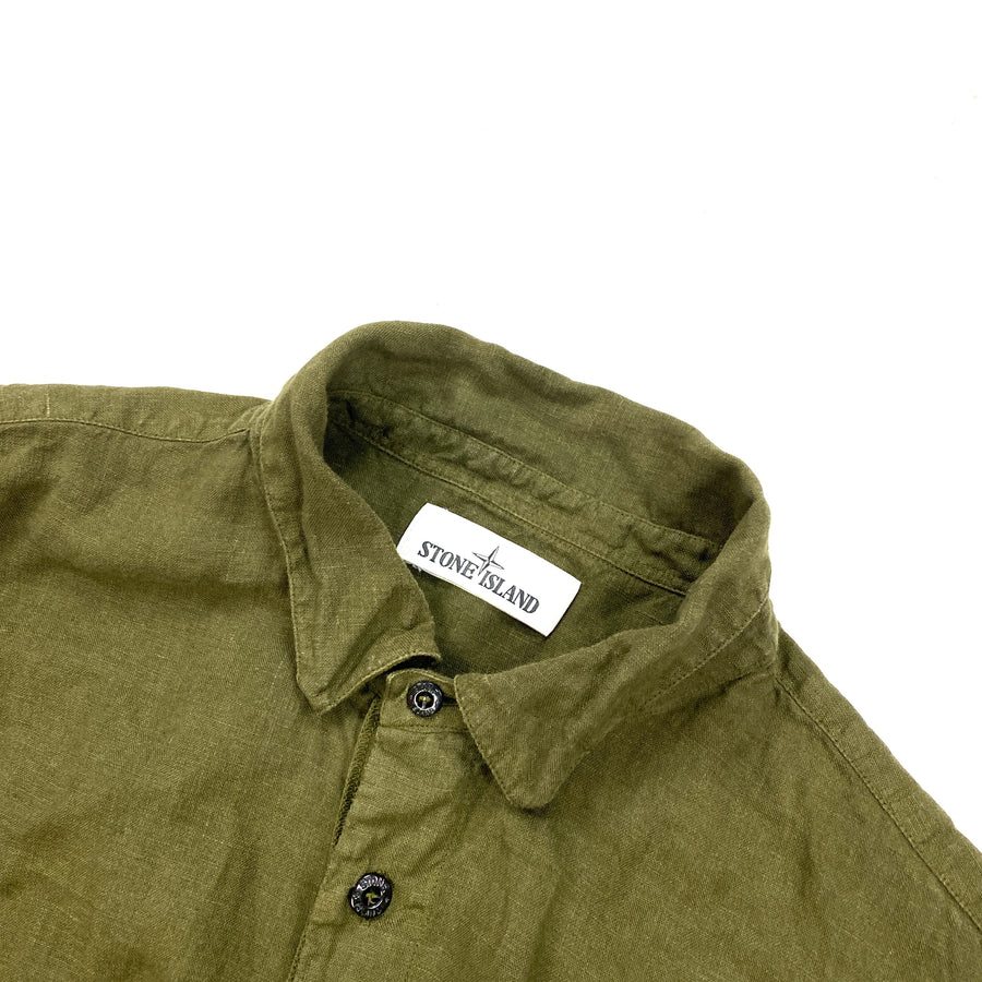 Stone Island Olive Green Linen Buttoned Shirt