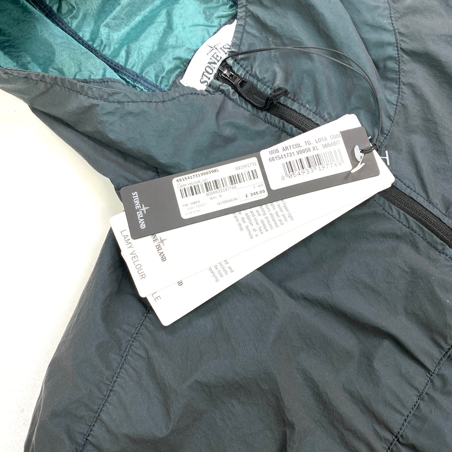 Stone Island Lamy Velour Navy Hooded Rain Jacket
