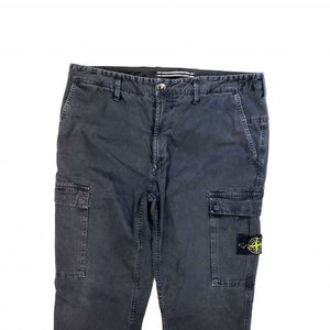 STONE ISLAND BLACK COTTON SLIM CARGO TROUSERS