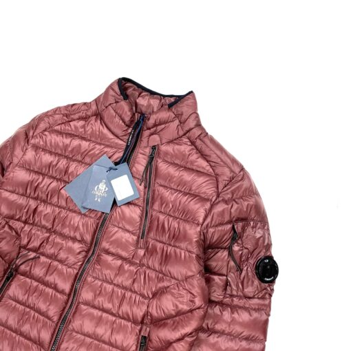 CP COMPANY BURGUNDY DYED DOWN LENS VIEWER PUFFER JACKET
