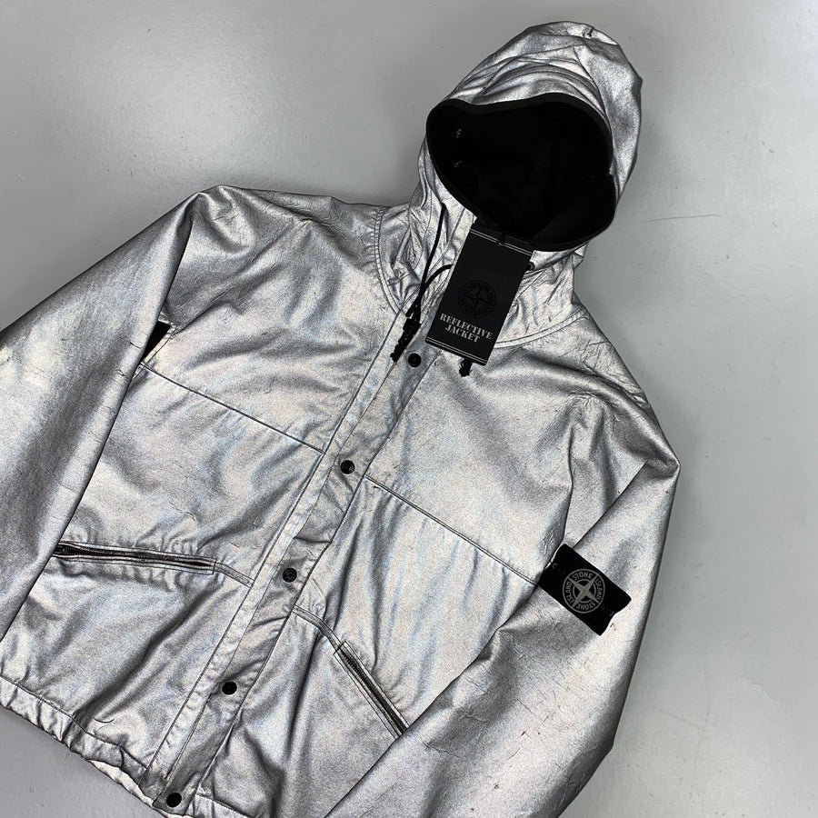 Stone Island Grey Antiqued Reflective Hooded Jacket