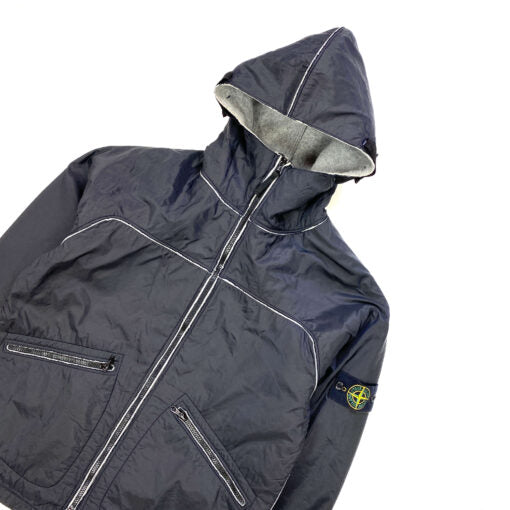 STONE ISLAND 2003 BLACK WOOL LINED NYLON SHELL JACKET