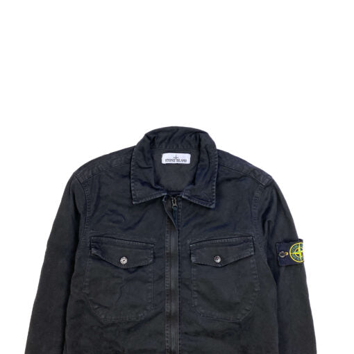 STONE ISLAND THICK BLACK COTTON ZIPPED OVERSHIRT
