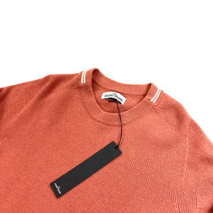 Stone Island Peach Lambs Wool Crewneck Knitted Jumper