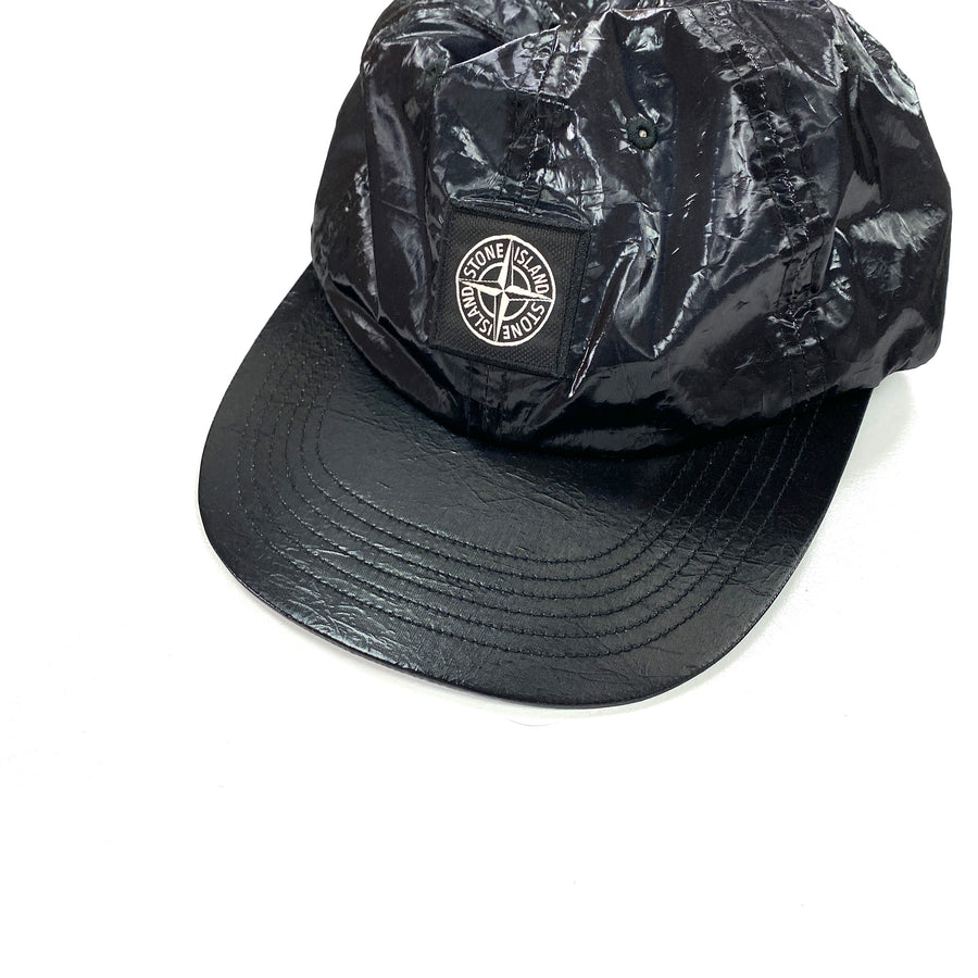 Stone Island x Supreme Liquid Silk Black 5 Panel Cap