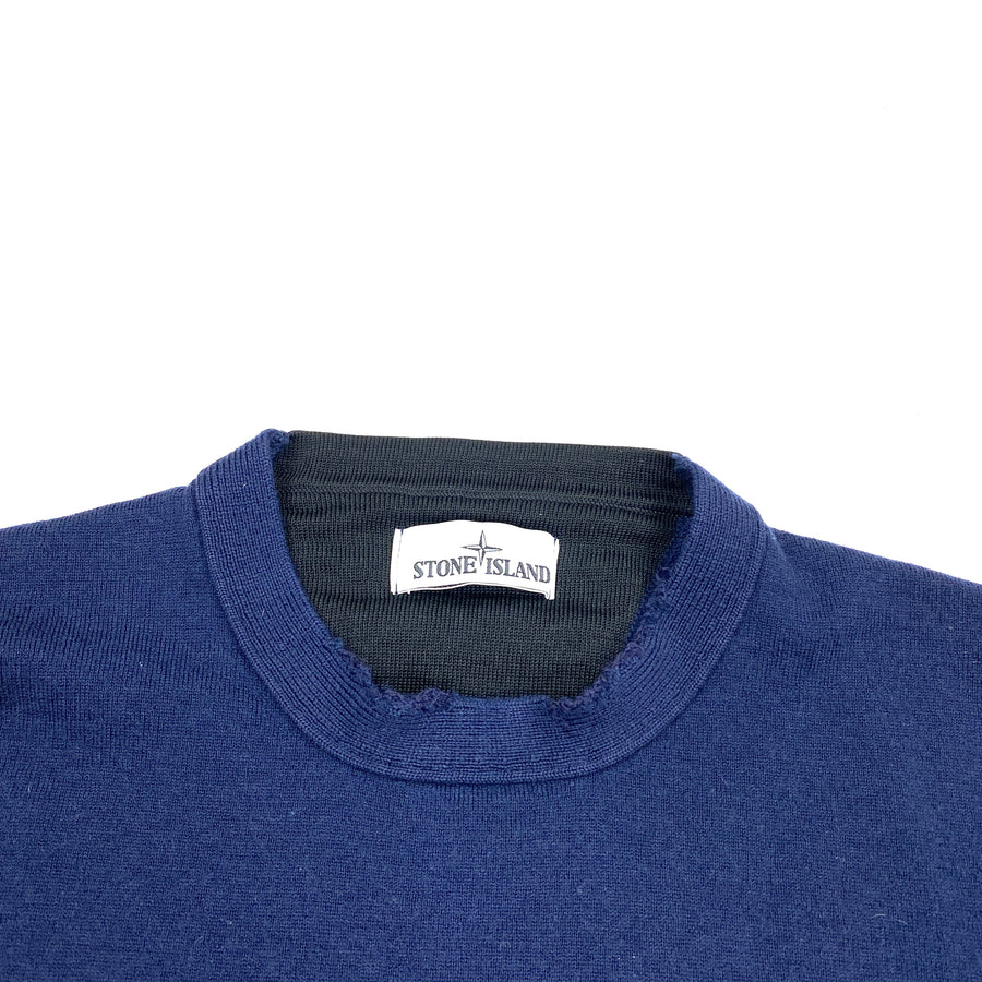 Stone Island Blue Wool Crewneck Jumper