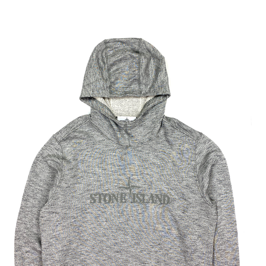 Stone Island Light Grey Marl Spellout Pullover Hoodie