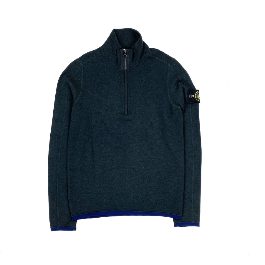Stone Island Grey Wool Quarter Zipped Pullover Jumper