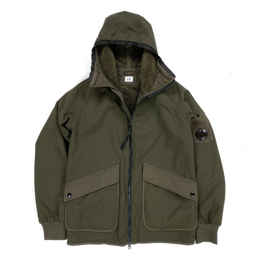 CP COMPANY KHAKI GREEN SHERLING LINED SOFT SHELL JACKET