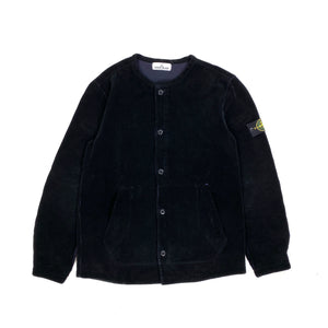 Stone Island Black Corduroy Collarless Overshirt