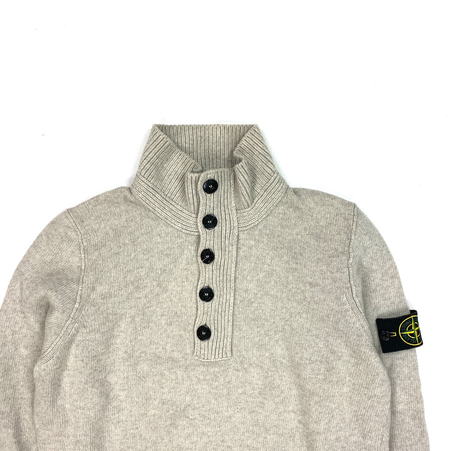 Stone Island Grey Wool Quarter Buttoned Pullover Jumper