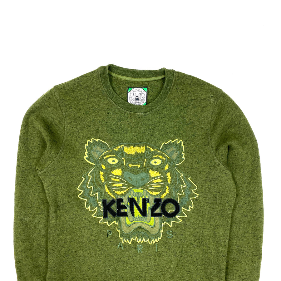 Kenzo Green Marl Thick Cotton Crewneck Sweatshirt
