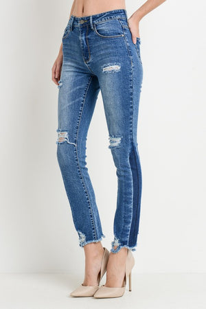 High Waist Distressed Slim Straight