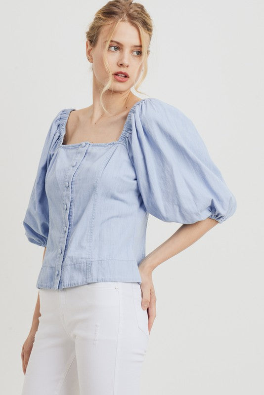Puff Sleeve Denim