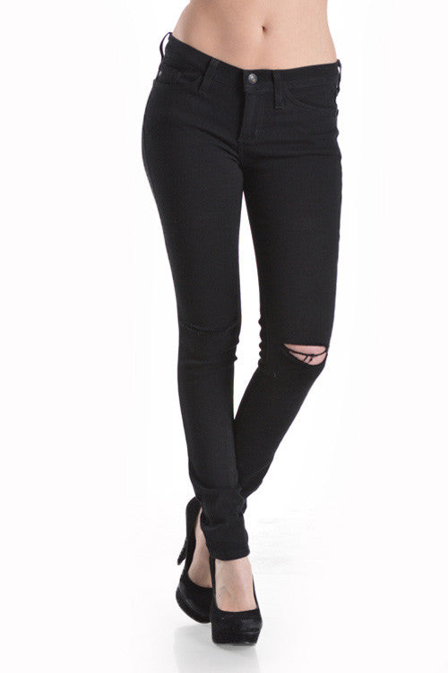 Black Ripped Knee - Low Rise