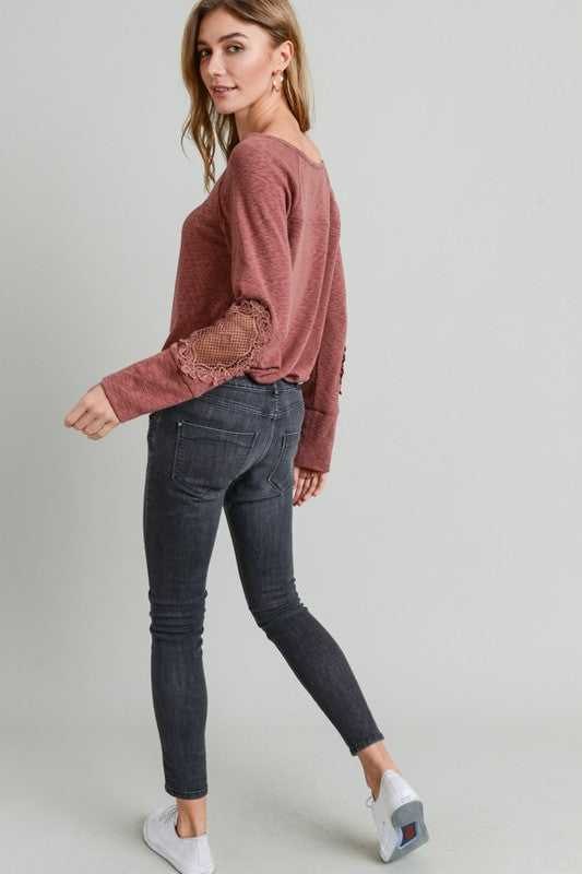 Lace Patch Slub Top
