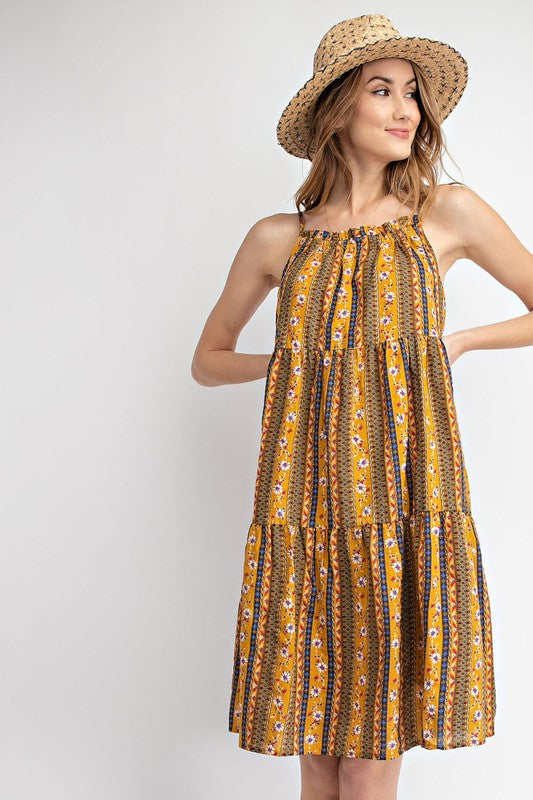 Boho Print Babydoll Dress