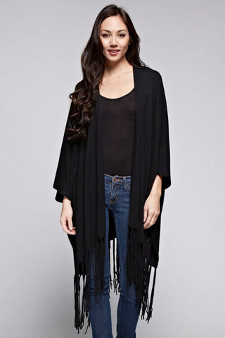 Oversized BLACK Fringed Cardigan
