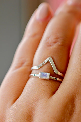 Zaleska: Medina Stacking Ring | Sterling Silver & Moonstone