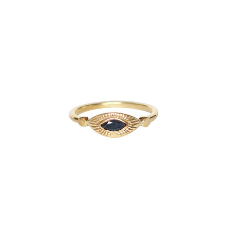 Mercedes Ring | Gold & Blue Sapphire