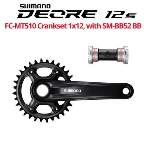 Shimano Deore 12s, SLX, 12-speed Crankset, FC-MT510, with or W/O SM-BB52 Bottom Bracket - Bikecomponents.ca
