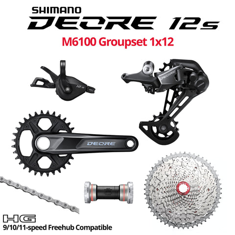 Shimano Deore 12s M6100 Groupset, 1x12, with BOOST crank -  HG 9/10/11-speed Freehub Compatible - Bikecomponents.ca