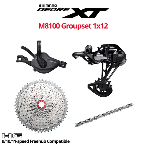 Shimano Deore XT M8100 Groupset, 1x12, W/O crankset - HG 9/10/11-speed Freehub Compatible - Bikecomponents.ca
