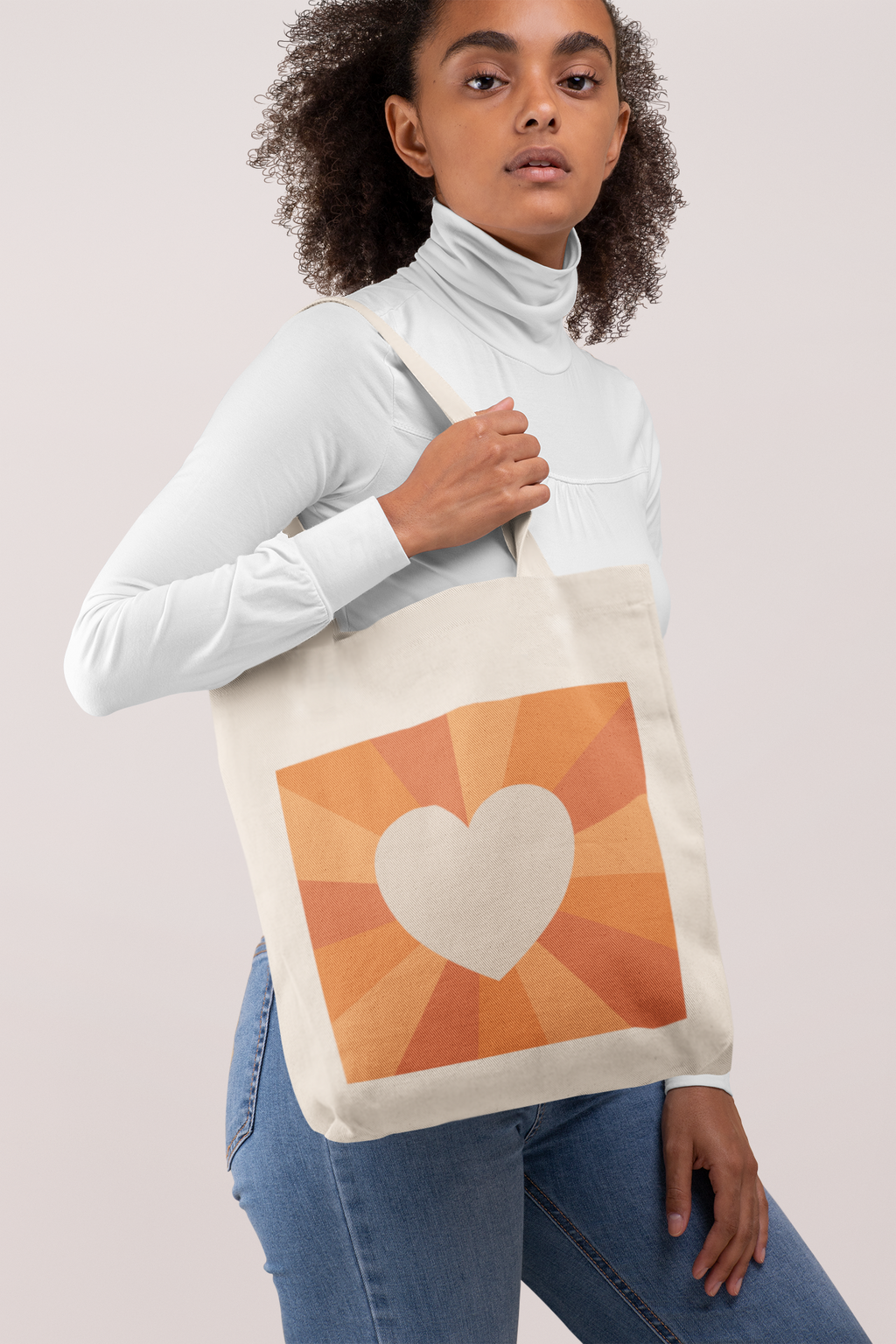 Tote Bag in Orange Heart Sunset