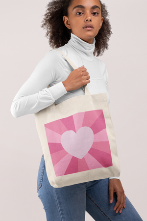 Tote Bag in Pink Heart Sunburst