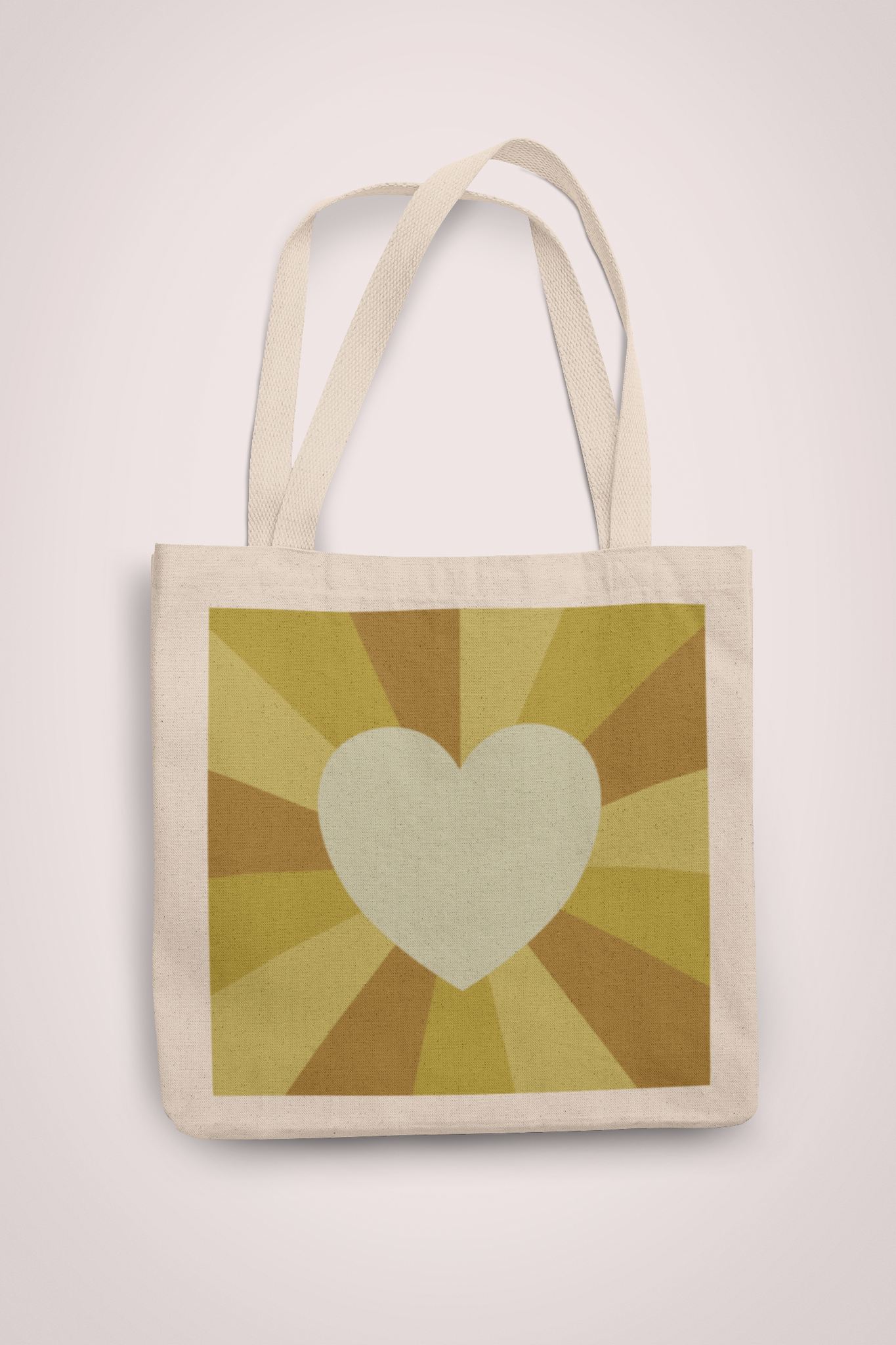 Tote Bag in Yellow Heart Sunset