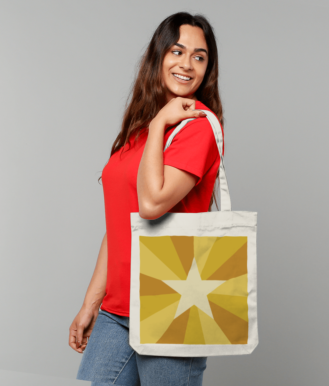 Tote Bag in Yellow Star Sunburst