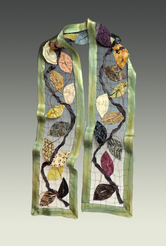 The One with Leaves Scarf (shown in Willow), wearable art made of Silk, upcycled and vintage materials.
