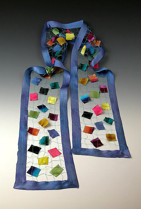 Bits and Pieces Scarf, shown in Perriwinkle, wearable art made of Silk, upcycled and vintage materials.