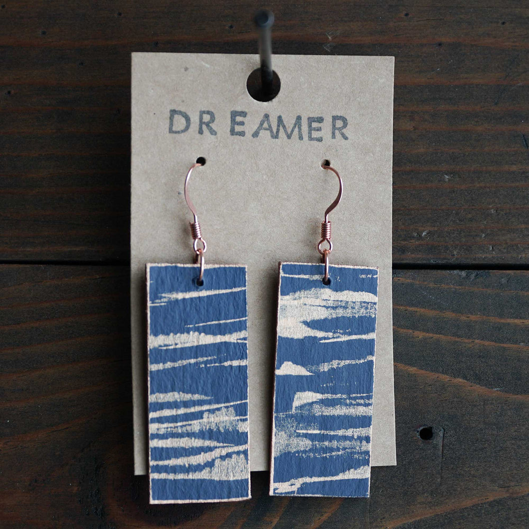 Rectangle dangle earrings made from recycled chipboard, hand painted in navy blue and copper, and made with copper ear wire.