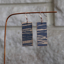 Load image into Gallery viewer, Rectangle dangle earrings made from recycled chipboard, hand painted in navy blue and copper, and made with copper ear wire.
