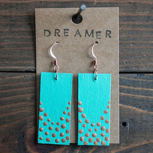 Rectangle dangle earrings made from recycled chipboard, hand painted in turquoise with copper dots, and made with copper ear wire.