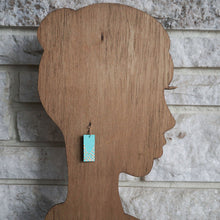 Load image into Gallery viewer, Rectangle dangle earrings made from recycled chipboard, hand painted in turquoise with copper dots, and made with copper ear wire.