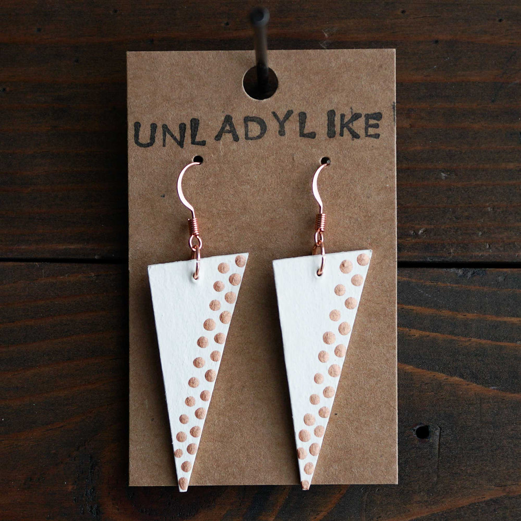 Triangle dangle earrings made from recycled chipboard, hand painted in ivory and copper, and made with copper ear wire.