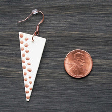Load image into Gallery viewer, Triangle dangle earrings made from recycled chipboard, hand painted in ivory and copper, and made with copper ear wire.