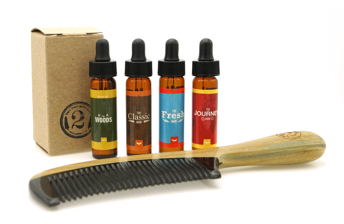 Beard Oil Sampler with Sandalwood Comb - The 2 Bits Man