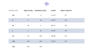 Sizing Chart for tees by CP Designs Unlimited