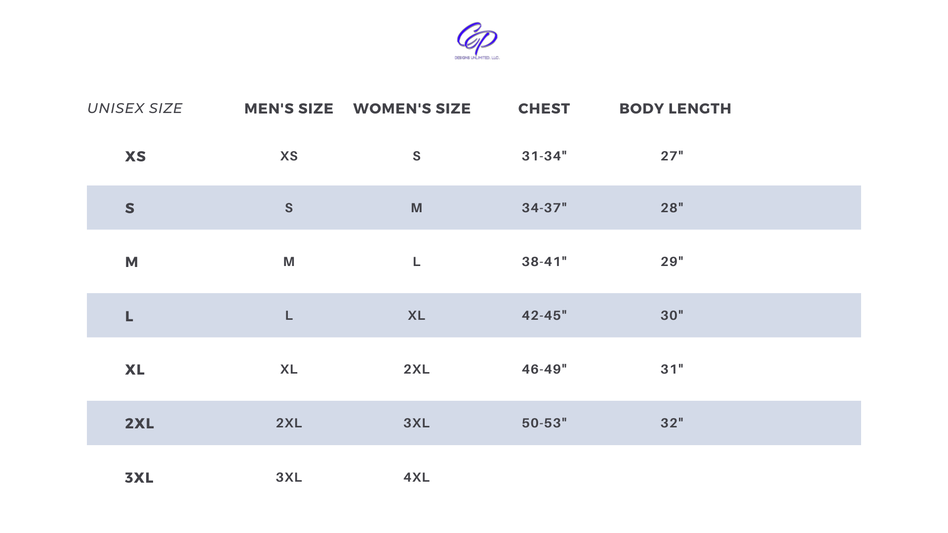 CP Designs Unlimited - Sizing Chart